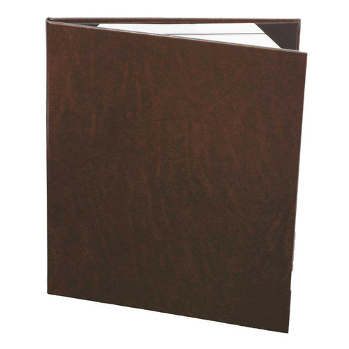"""8 1/2"""" x 11"""" Insert, 2-Panel Menu Cover with Real Bonded Leather Wrap Dark Brown"""