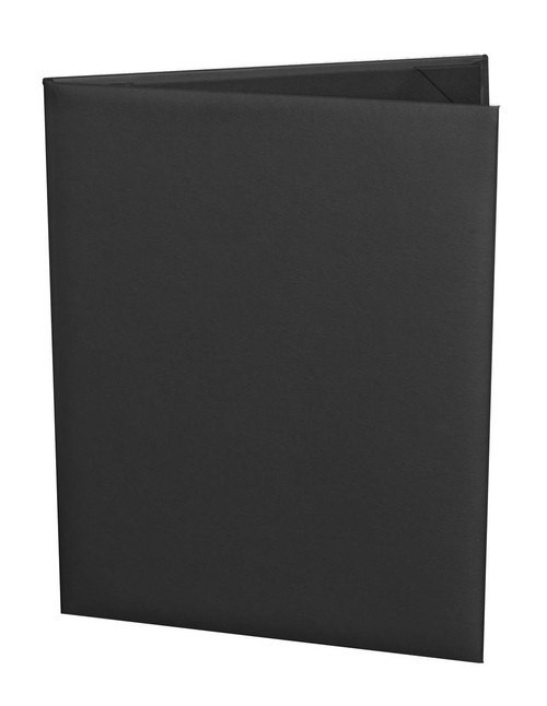 "Menu Cover in Black Faux Leather 2-Panels for 5.5"" x 8.5"" Menu Sheets"