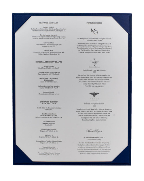 "8 1/2"" x 11"" Insert, 1-Panel Menu Holder with Menu Sheet (not included) Blue (inside)"
