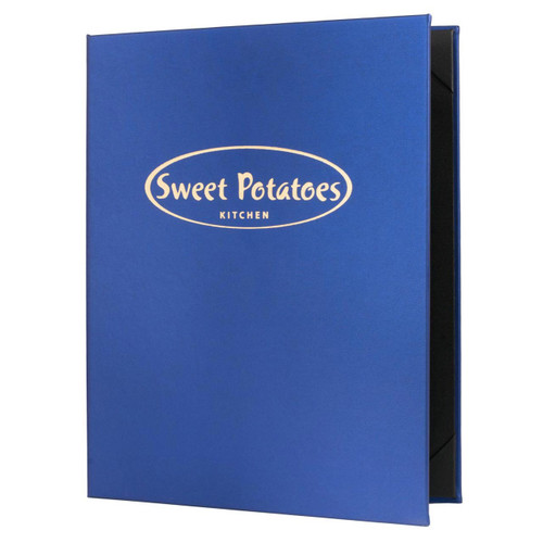 "Radiant Faux Leather Menu Cover, 2-view, 8.5"" x 11"" insert (Blue) with Gold Foil Stamp"