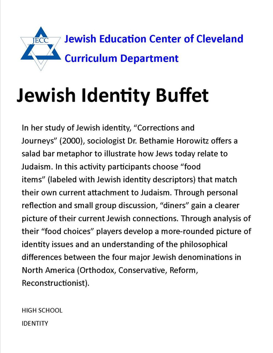 Jewish Identity Buffet (High School)