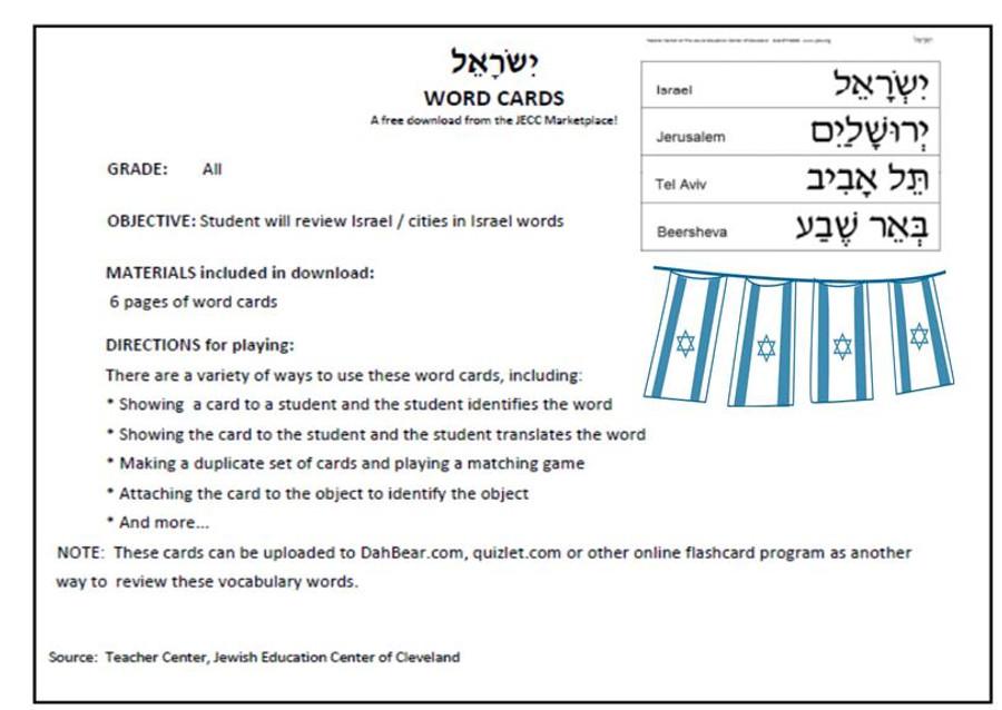 Israel Word Cards