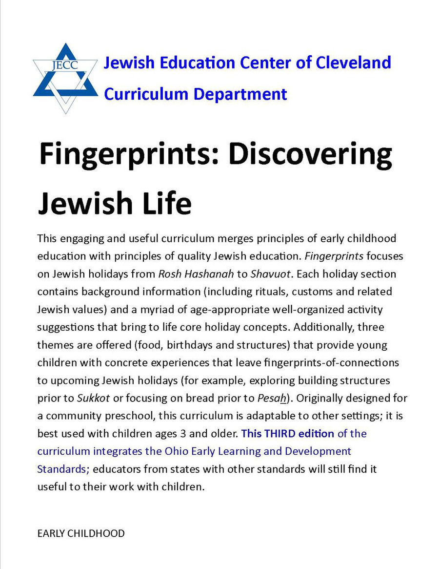 Fingerprints: Discovering Jewish Life (Early Childhood) Sample Pages