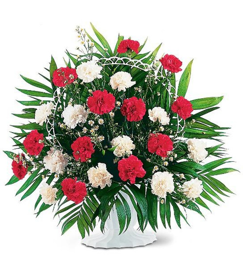 Funeral Basket Red and White Carnations