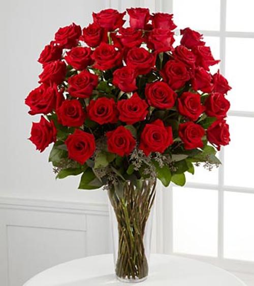 3 Dozen Red Rose Vase