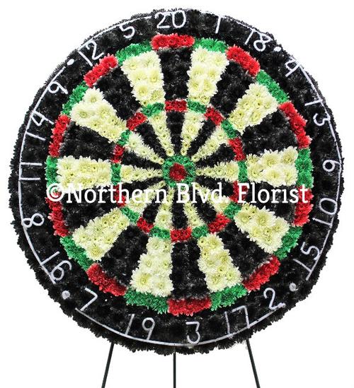 Dartboard Funeral Flowers