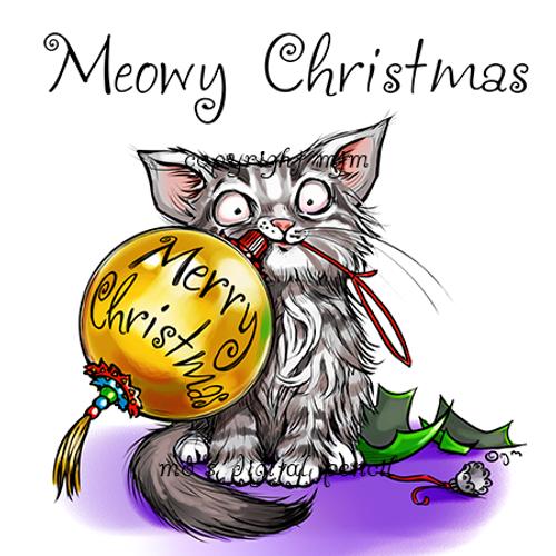 meowy christmas cat - Merry Christmas Cat