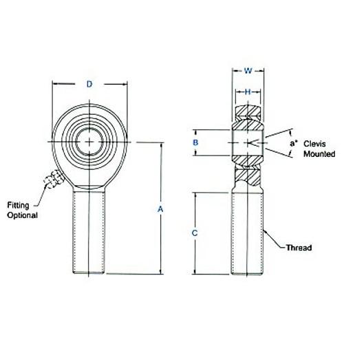 "Aurora Bearing 5/8"" Bore x 3/4""-16 Thread 4130 Rod End Kit - Rod End Diagram"