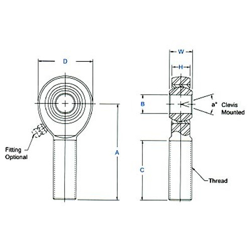 "Aurora Bearing 5/8"" Bore x 3/4""-16 Thread Mild Steel Rod End Kit - Rod End Diagram"