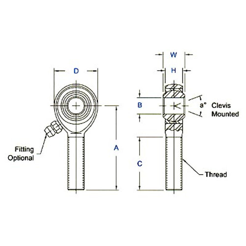 """Aurora Bearing 7/16"""" Bore x 7/16""""-20 Thread LH Male 4130 Rod End"""