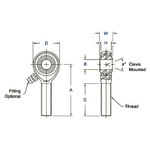 """Aurora Bearing 7/16"""" Bore x 7/16""""-20 Thread RH Male 4130 Rod End"""