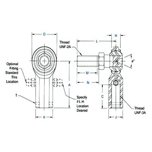 """Aurora Bearing 1/4""""-28 Thread RH Female Mild Steel Rod End with Stud"""