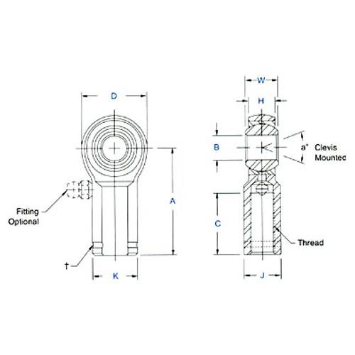 "Aurora Bearing 3/8"" Bore x 3/8""-24 Thread RH Female Mild Steel Rod End"
