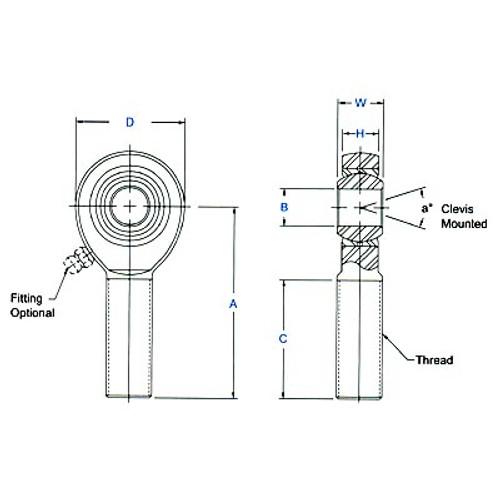 "Aurora Bearing 5/8"" Bore x 3/4""-16 Thread LH Male Mild Steel Rod End"