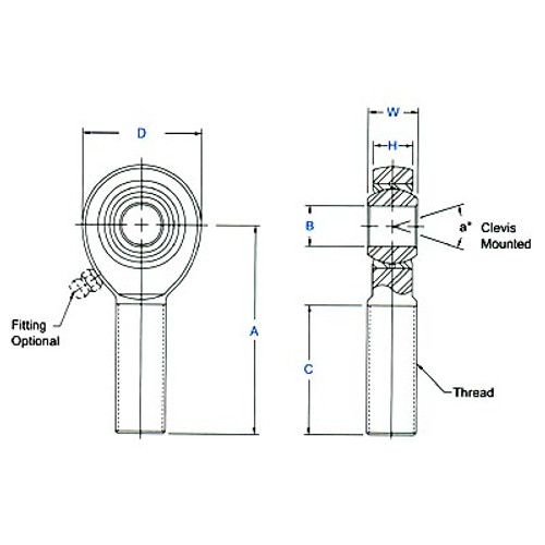 "Aurora Bearing 5/8"" Bore x 3/4""-16 Thread RH Male Mild Steel Rod End"