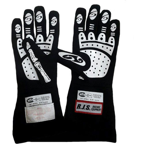 RJS Racing Equipment Single Layer Skeleton Nomex Racing Gloves, SFI 3.3/1, Black, X-Large