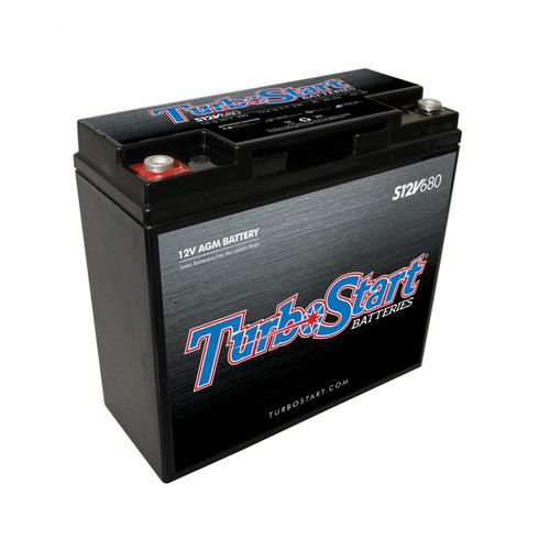 "TurboStart S12V680 12 Volt AGM Race Battery, 7.10"" L x 3.00"" W x 6.50"" H"