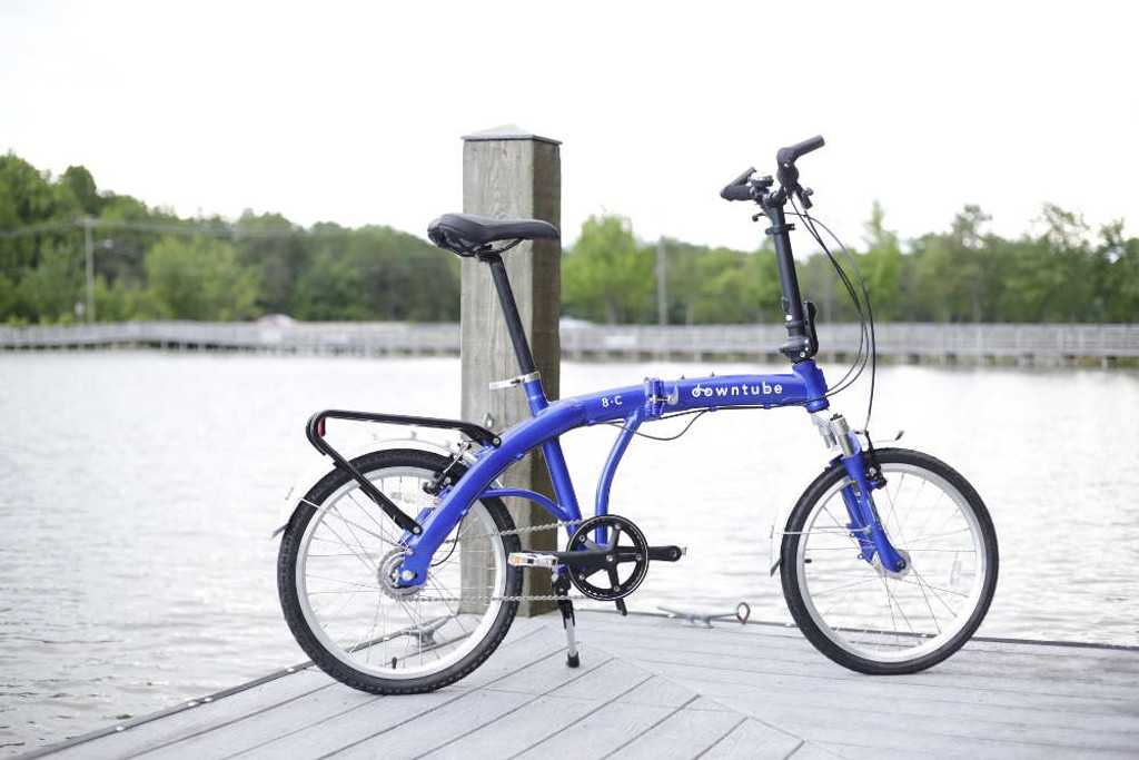 8C folding bike standing on water