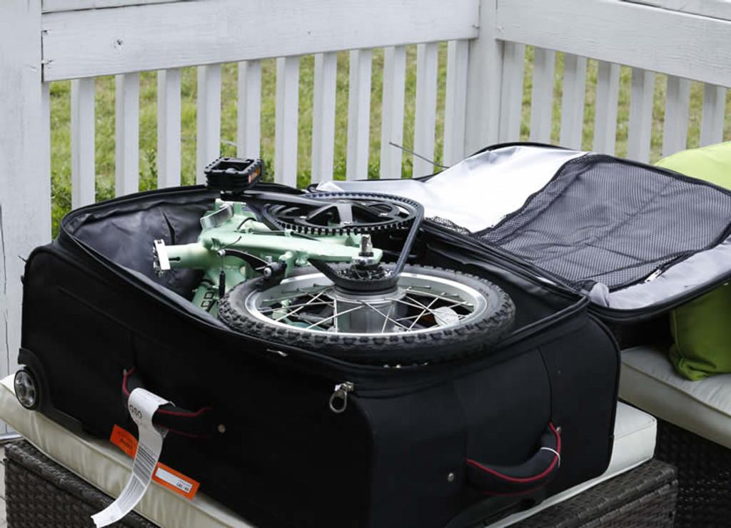 mini folding bike in suitcase