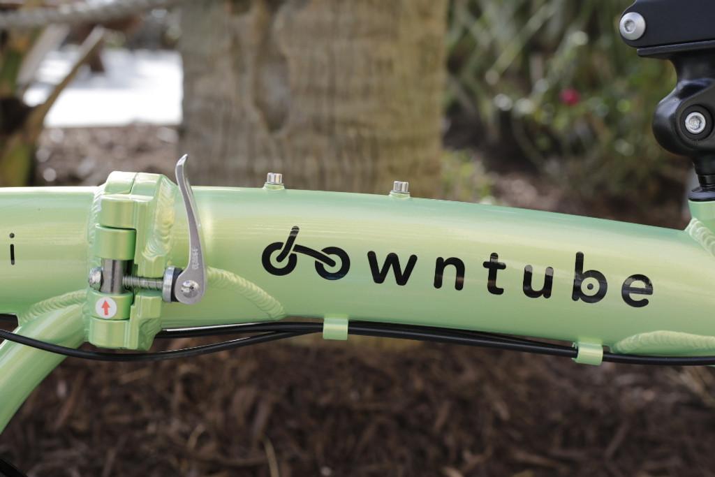 mini folding bike downtube logo