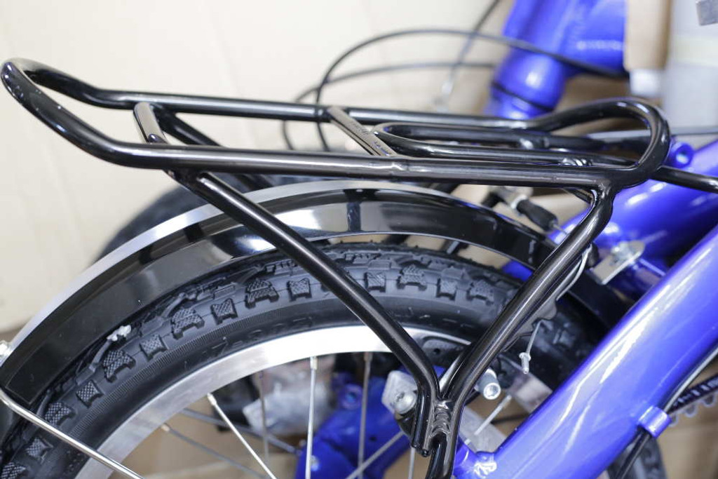 mini folding bike blue rear rack