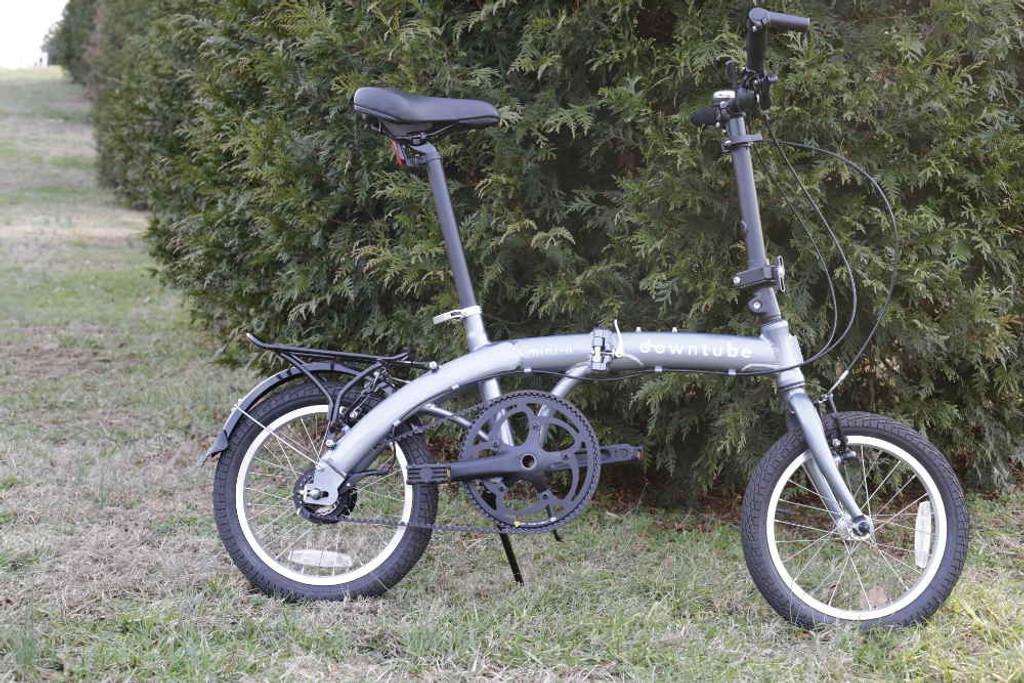 mini folding bike silver drive side