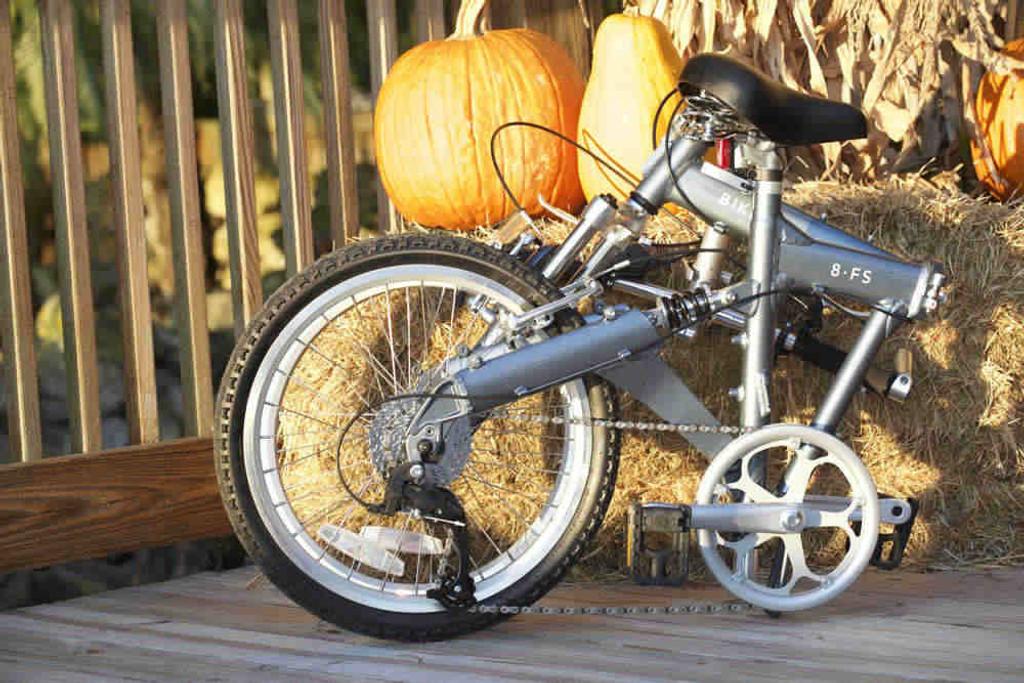 8FS folding bike folded on pumpkin