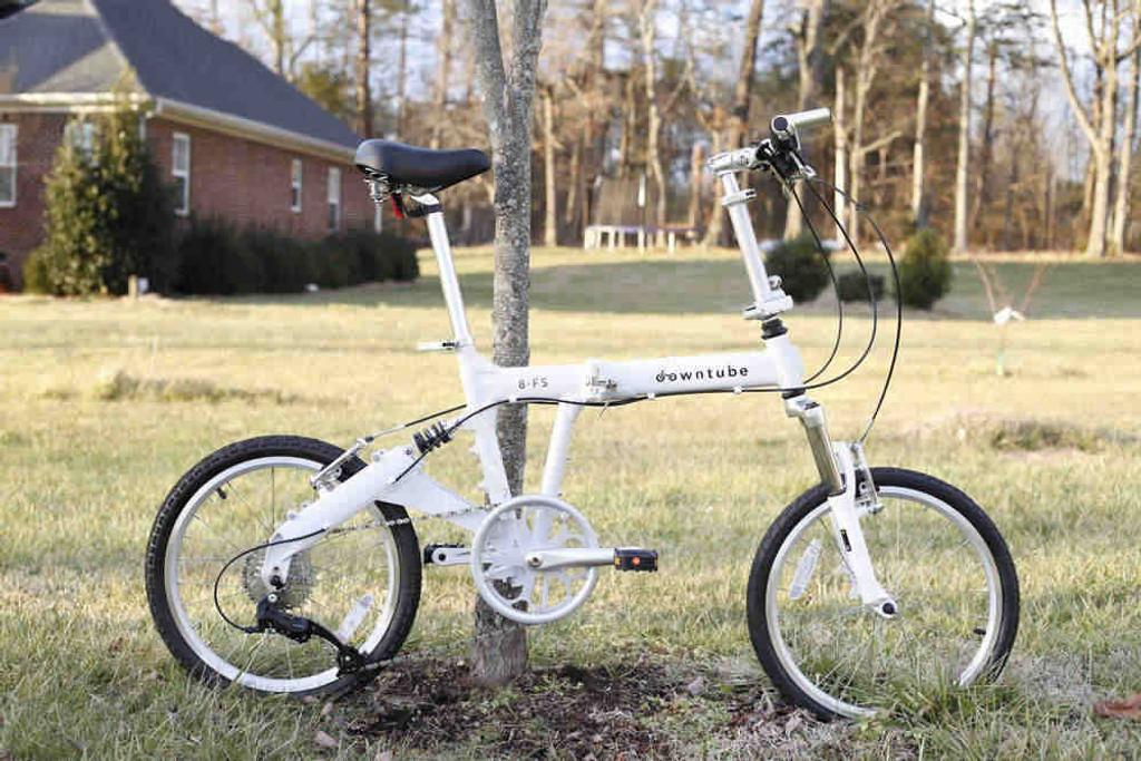 8FS white folding bike standing