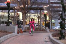 mini folding bike ridden by 7 year old