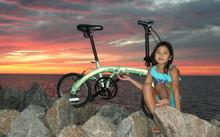 mini folding bike with 7 year old