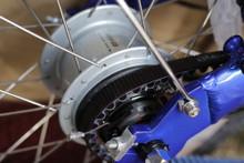 mini folding bike blue rear hub