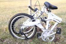 8FS white folded on grass