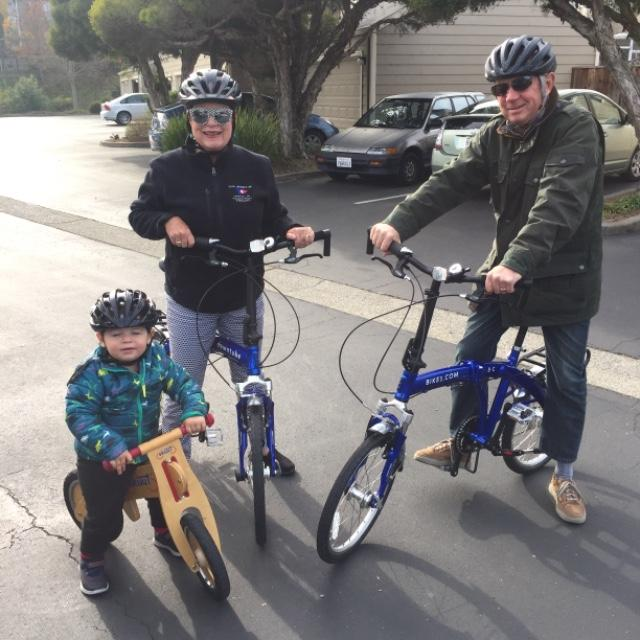 8C folding bikes with a grandkid