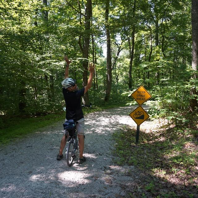 Big hill riding in mammoth cave park