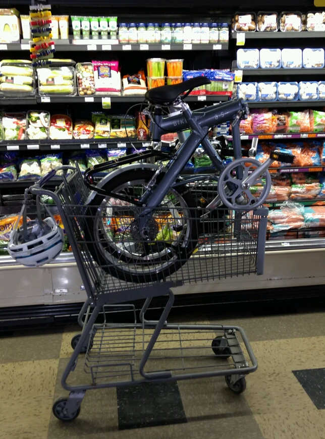 Folding bike in a shopping cart