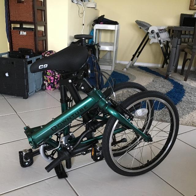 Green Nova folding bike folded up