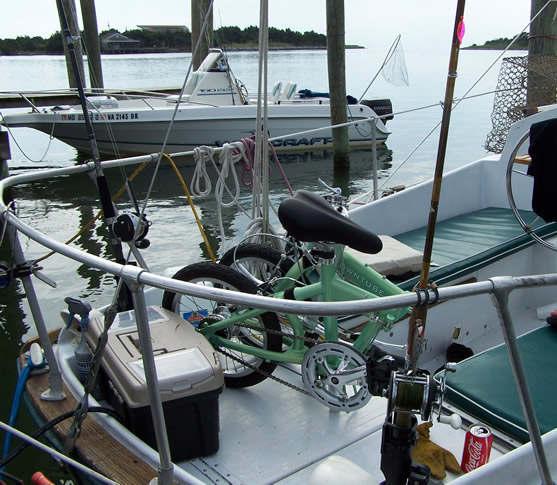 mini folding bike on a sailboat