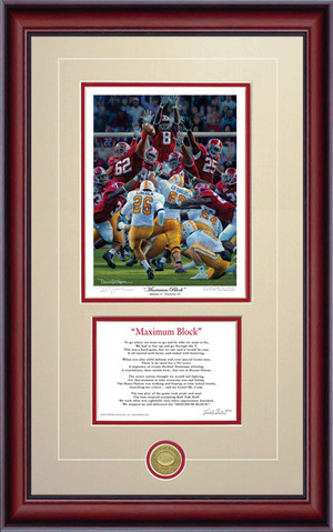 "Print-Poem - ""Maximum Block"" - Alabama Football vs. Tennessee 2009"