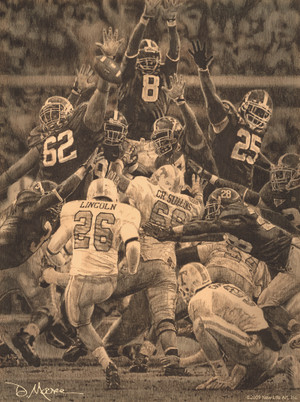 """Maximum Block"" - Pencil Drawing - Alabama Football vs. Tennessee 2009"