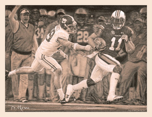 The Runback - Pencil Drawing - Auburn Football vs. Alabama 2013