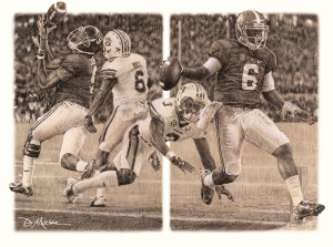 The Game Changers - Pencil Drawing - Alabama Football vs. Auburn 2014