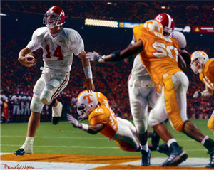 """Running Through the T"" - Collegiate Classic 8x10 - Alabama Football vs. Tennessee 2002"