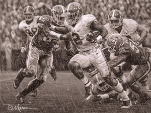 """The Washout"" - Pencil Drawing - Alabama Football vs. Georgia 2015 (Derrick Henry)"