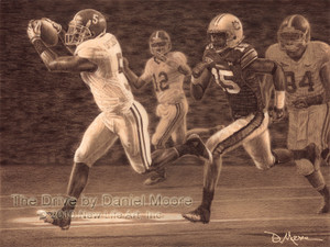 The Drive - Pencil Drawing - Alabama Football vs. Auburn 2009