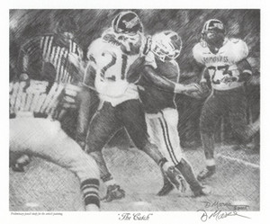 """The Catch"" - Pencil Drawing - Alabama Football vs. Southern Mississippi 2005 (Tyrone Prothro)"
