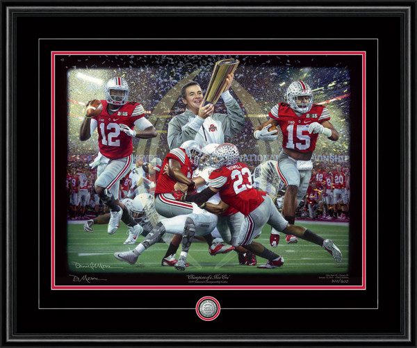 """Champions of a New Era"" shown framed in our Black Frame with Black & Scarlet matting."
