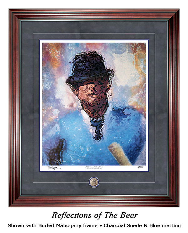 """Reflections of the Bear"" print shown in our Burled Mahogany frame with Charcoal Suede/Blue matting."