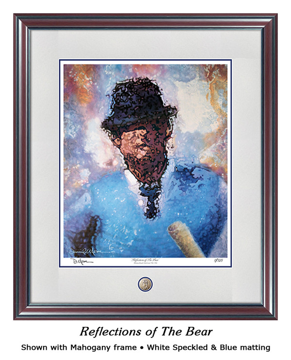 """Reflections of the Bear"" print shown in our Mahogany frame with White Speckled/Blue matting."