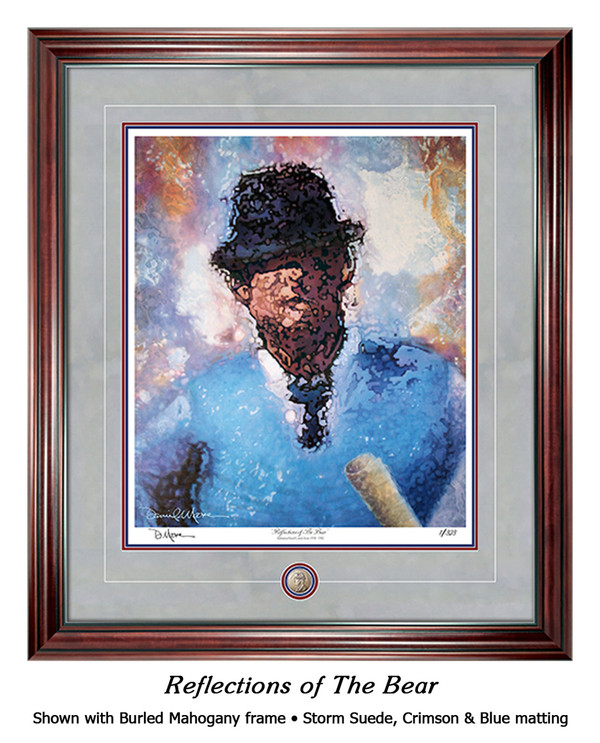 """Reflections of the Bear"" print shown in our Burled Maghogany frame with Storm Suede/Crimson/Blue matting."