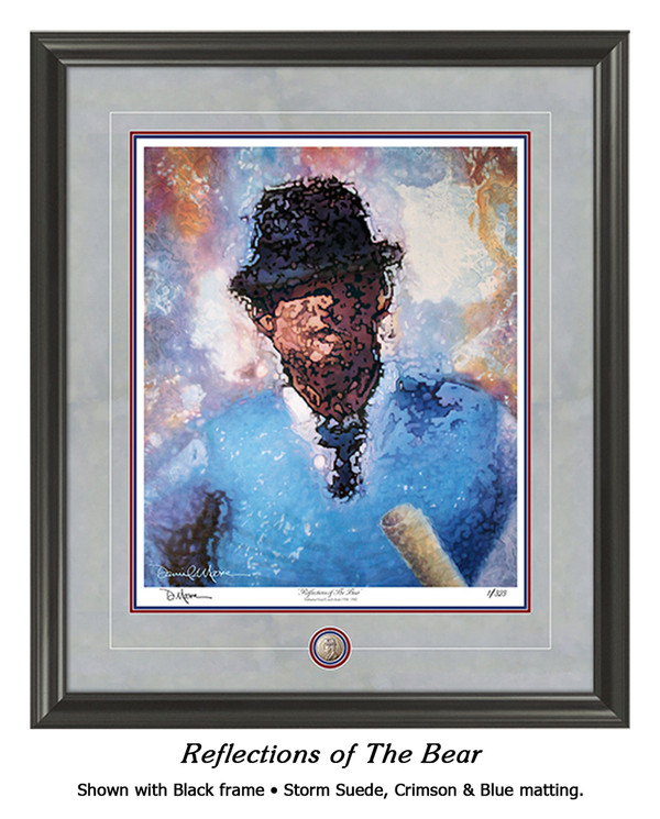 """Reflections of the Bear"" print shown in our Black frame with Storm Suede/Crimson/Blue matting."
